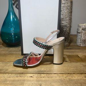 Gucci Bertie Crystal Metallic Leather Sandals